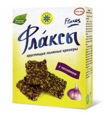 Флаксы (льняные крекеры) с чесноком, 150 гр.